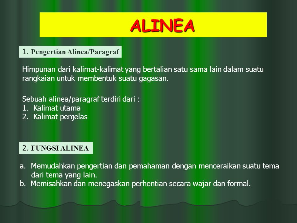 ALINEA 1. Pengertian Alinea/Paragraf