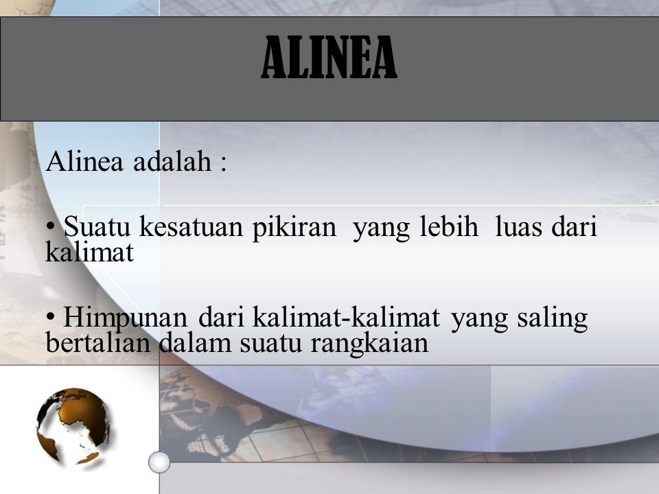 ALINEA Alinea adalah : Suatu kesatuan pikiran yang lebih luas dari kalimat.