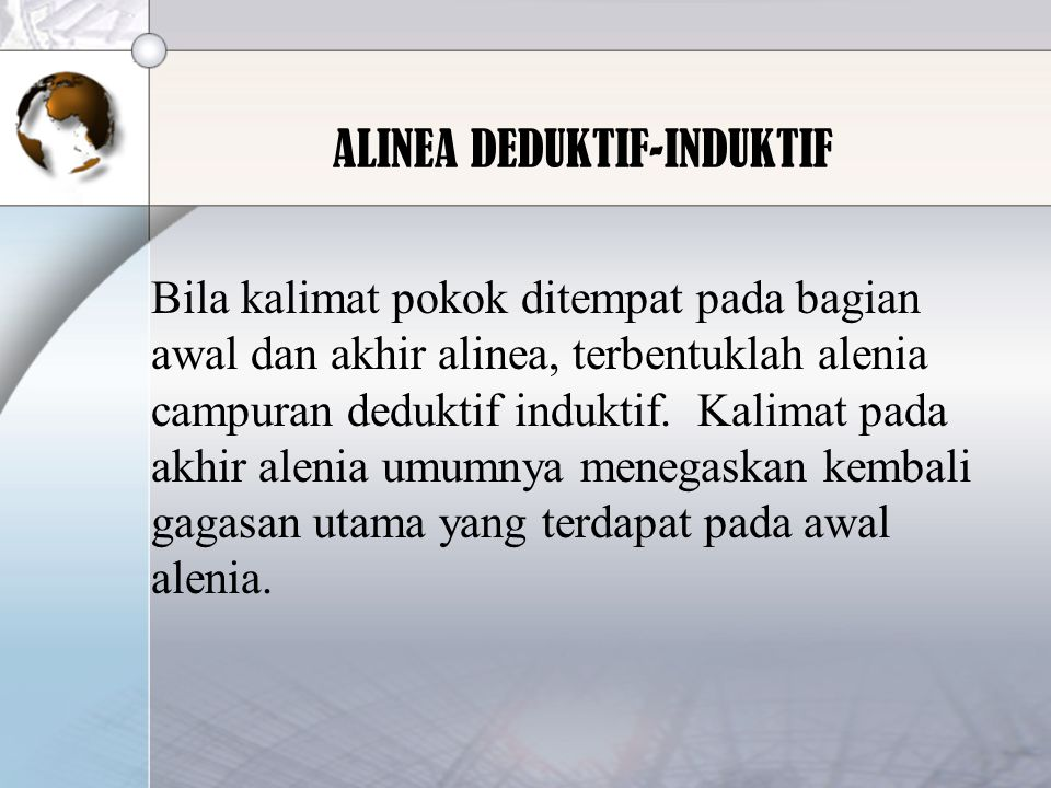 ALINEA DEDUKTIF-INDUKTIF