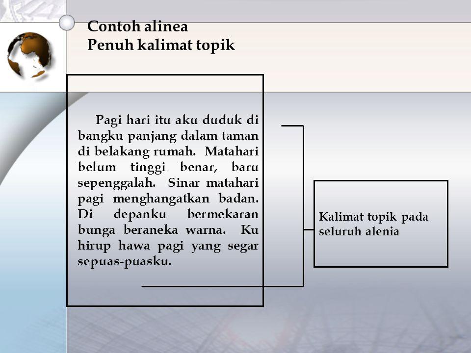 Contoh alinea Penuh kalimat topik