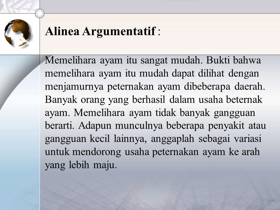 Alinea Argumentatif :