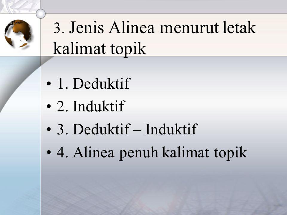 3. Jenis Alinea menurut letak kalimat topik