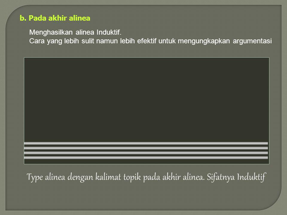 Type alinea dengan kalimat topik pada akhir alinea. Sifatnya Induktif