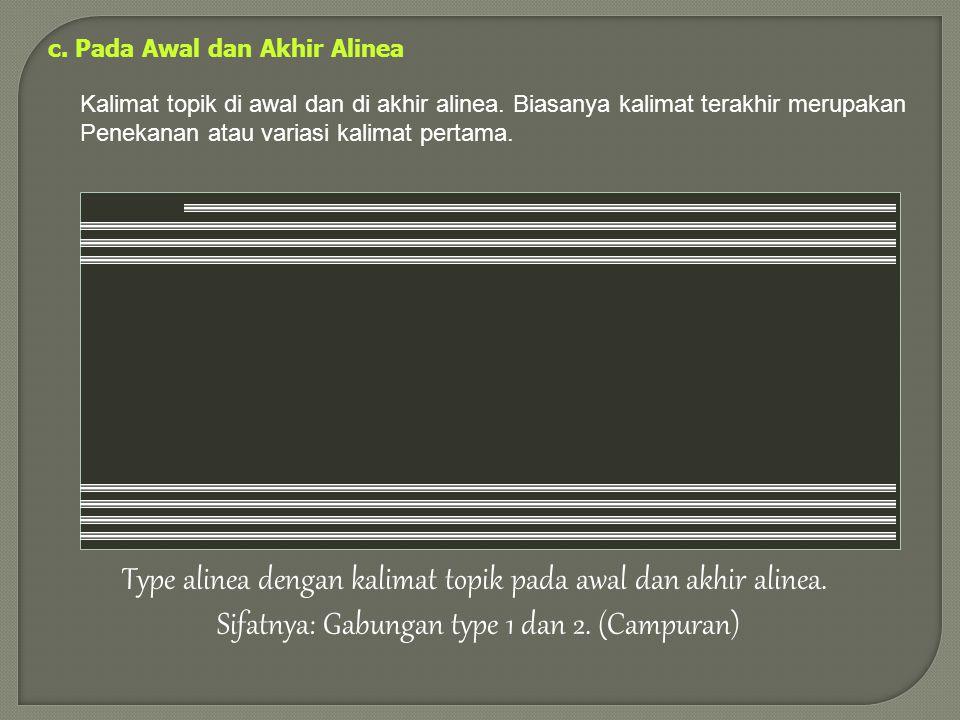 Type alinea dengan kalimat topik pada awal dan akhir alinea.