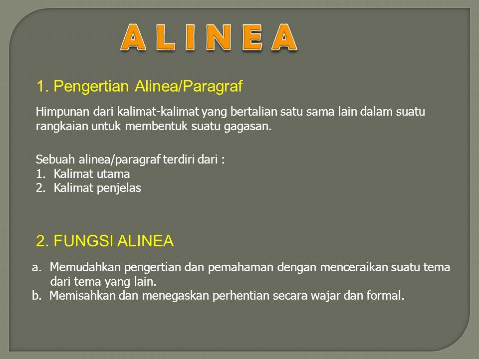 A L I N E A 1. Pengertian Alinea/Paragraf 2. FUNGSI ALINEA
