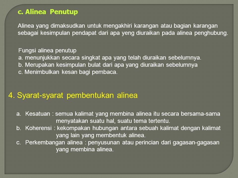 4. Syarat-syarat pembentukan alinea