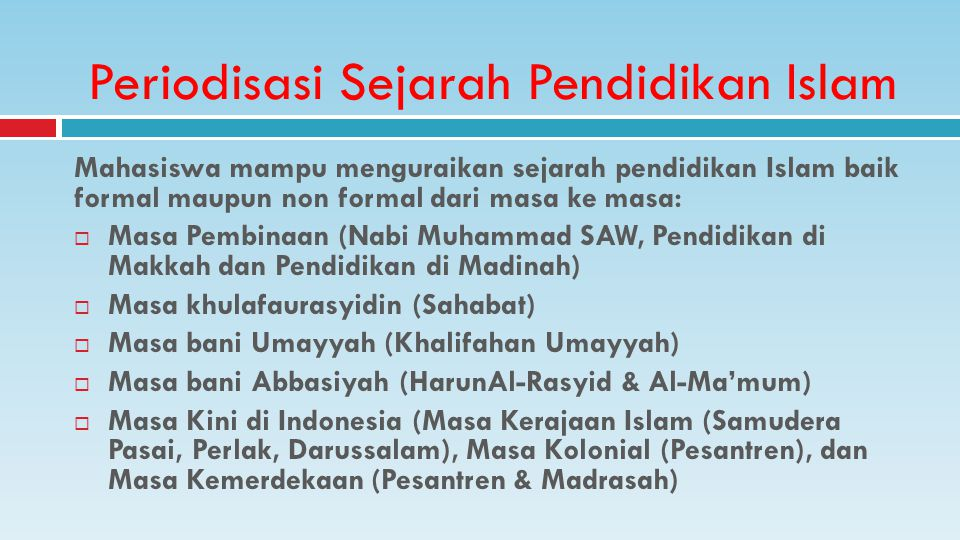 Periodisasi Sejarah Pendidikan Islam