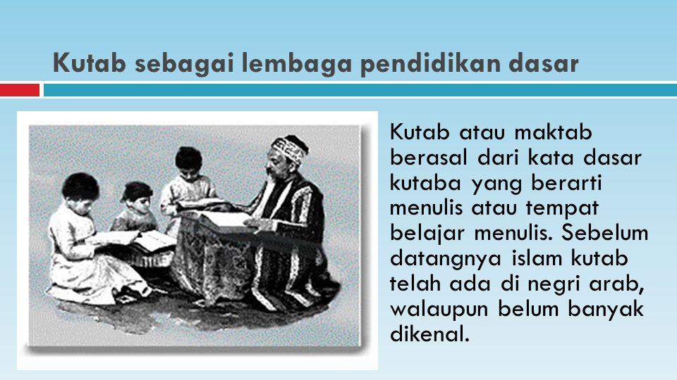 Kutab sebagai lembaga pendidikan dasar