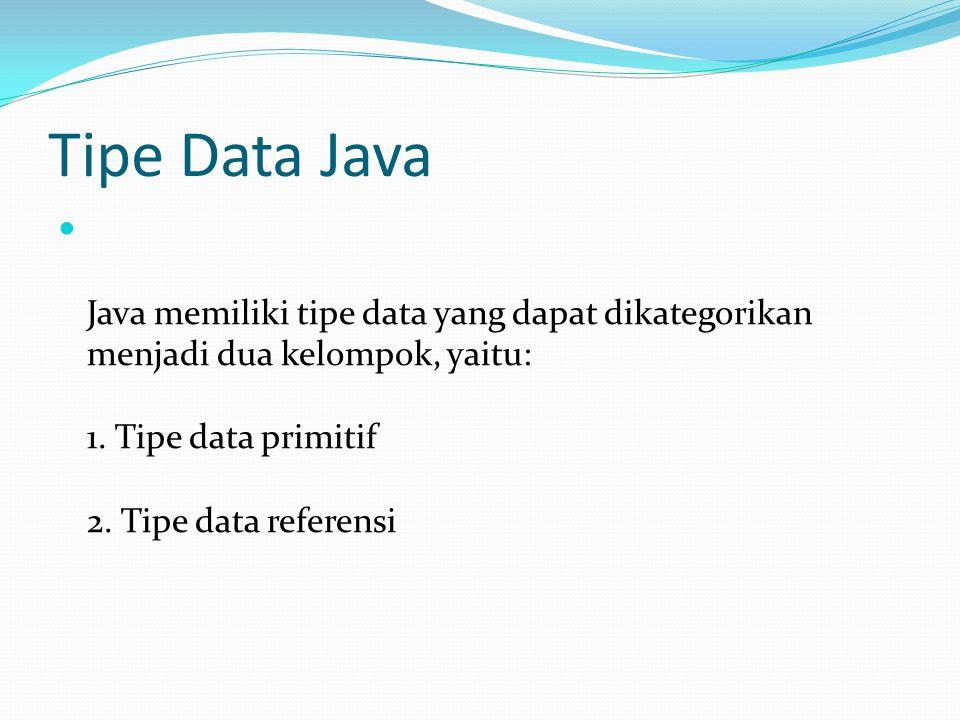 Tipe Data Java Java memiliki tipe data yang dapat dikategorikan menjadi dua kelompok, yaitu: 1.