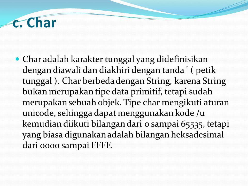 c. Char