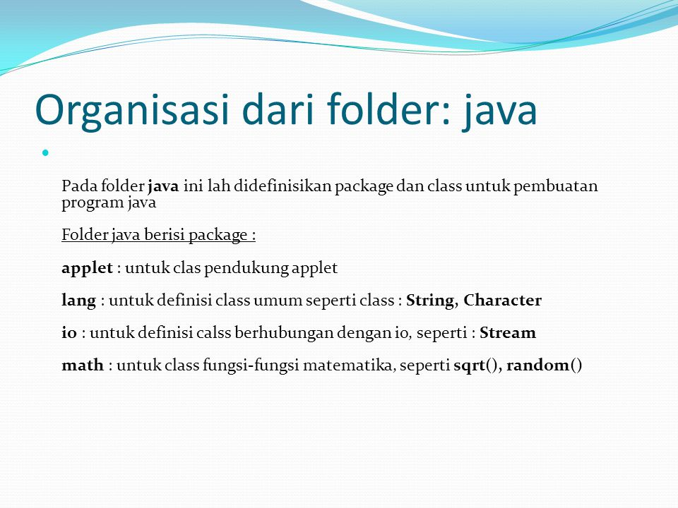 Organisasi dari folder: java
