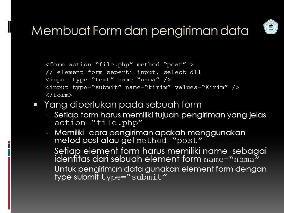 Membuat Form dan pengiriman data