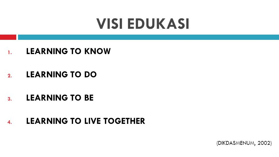 VISI EDUKASI LEARNING TO KNOW LEARNING TO DO LEARNING TO BE