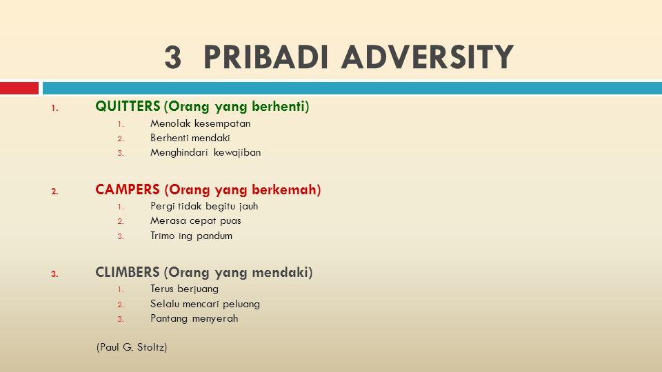 3 PRIBADI ADVERSITY QUITTERS (Orang yang berhenti)