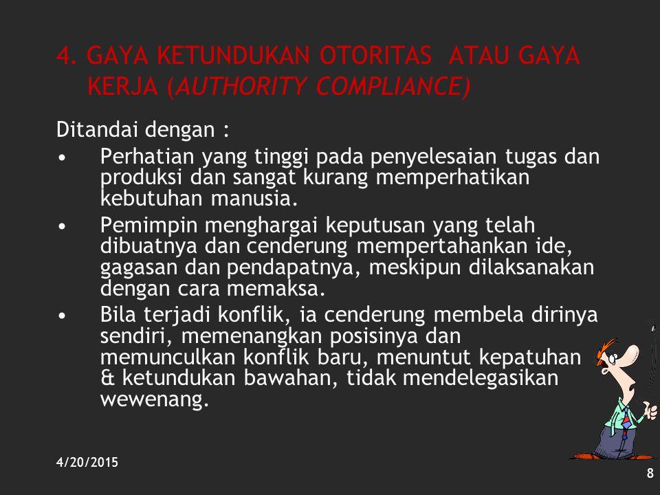 4. GAYA KETUNDUKAN OTORITAS ATAU GAYA KERJA (AUTHORITY COMPLIANCE)