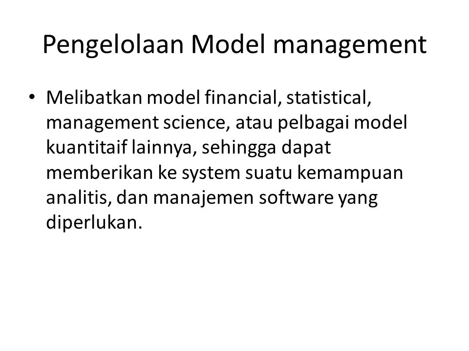 Pengelolaan Model management