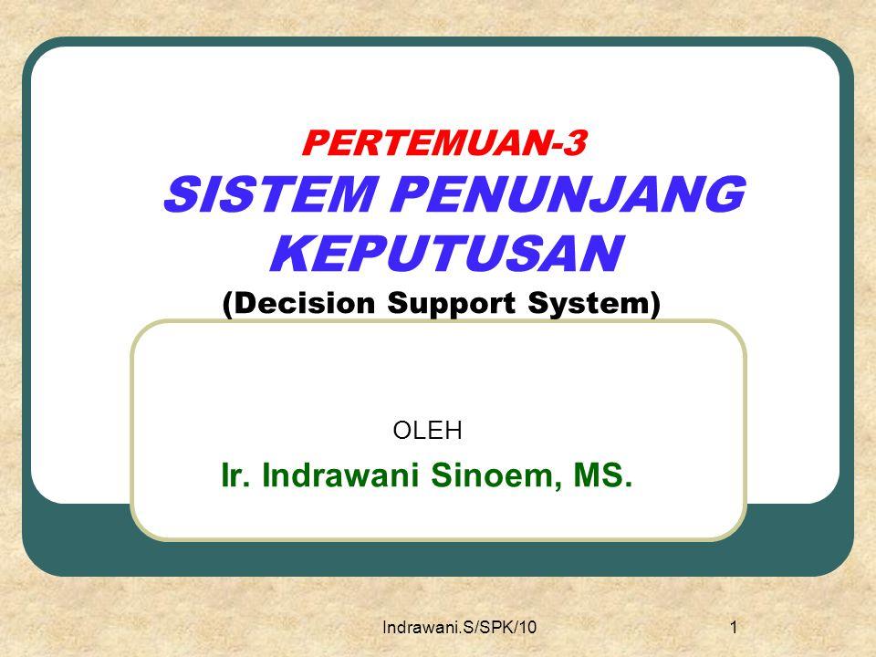 PERTEMUAN-3 SISTEM PENUNJANG KEPUTUSAN (Decision Support System)