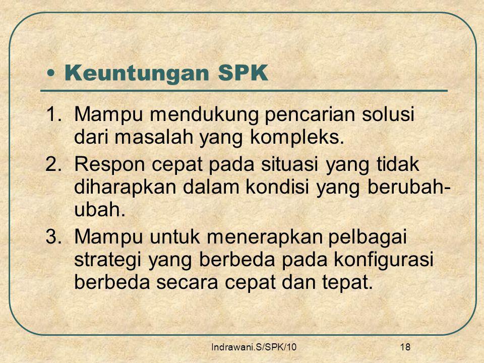 Keuntungan SPK 1. Mampu mendukung pencarian solusi dari masalah yang kompleks.