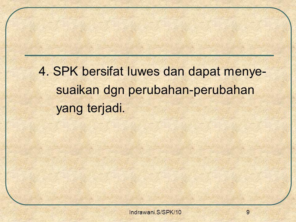 4. SPK bersifat luwes dan dapat menye- suaikan dgn perubahan-perubahan