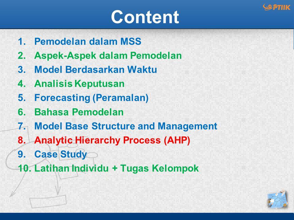 Content Pemodelan dalam MSS Aspek-Aspek dalam Pemodelan