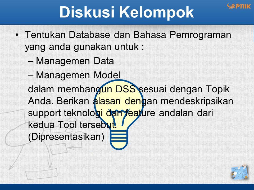 Diskusi Kelompok Tentukan Database dan Bahasa Pemrograman yang anda gunakan untuk : Managemen Data.