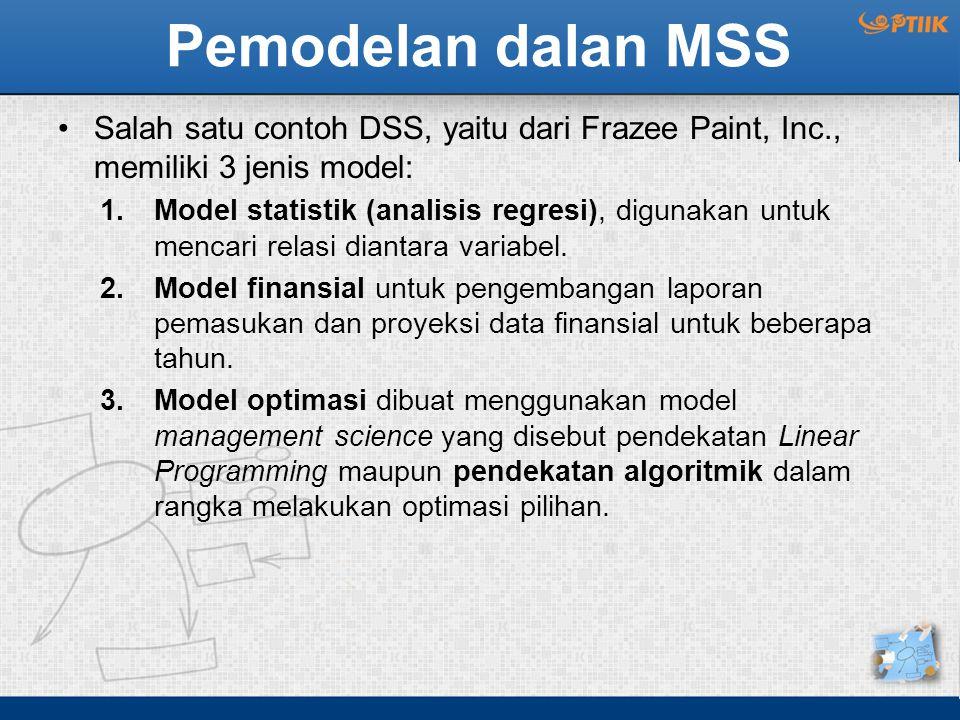 Pemodelan dalan MSS Salah satu contoh DSS, yaitu dari Frazee Paint, Inc., memiliki 3 jenis model: