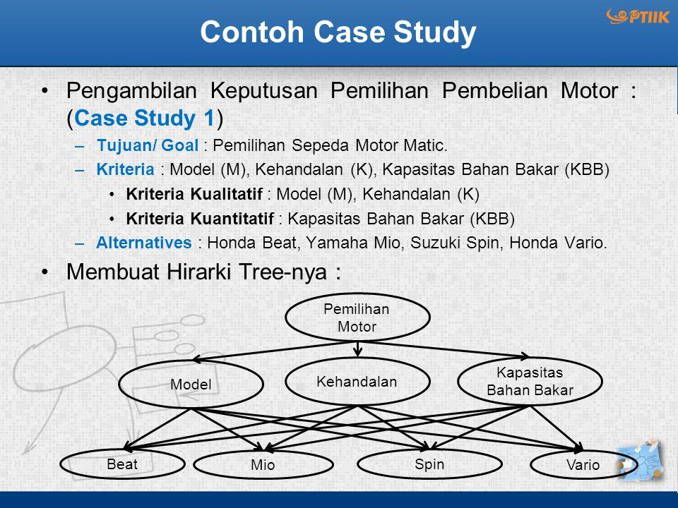 Contoh Case Study Pengambilan Keputusan Pemilihan Pembelian Motor : (Case Study 1) Tujuan/ Goal : Pemilihan Sepeda Motor Matic.