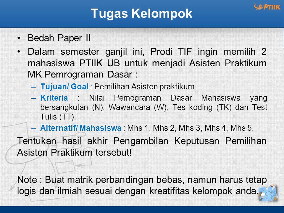 Tugas Kelompok Bedah Paper II