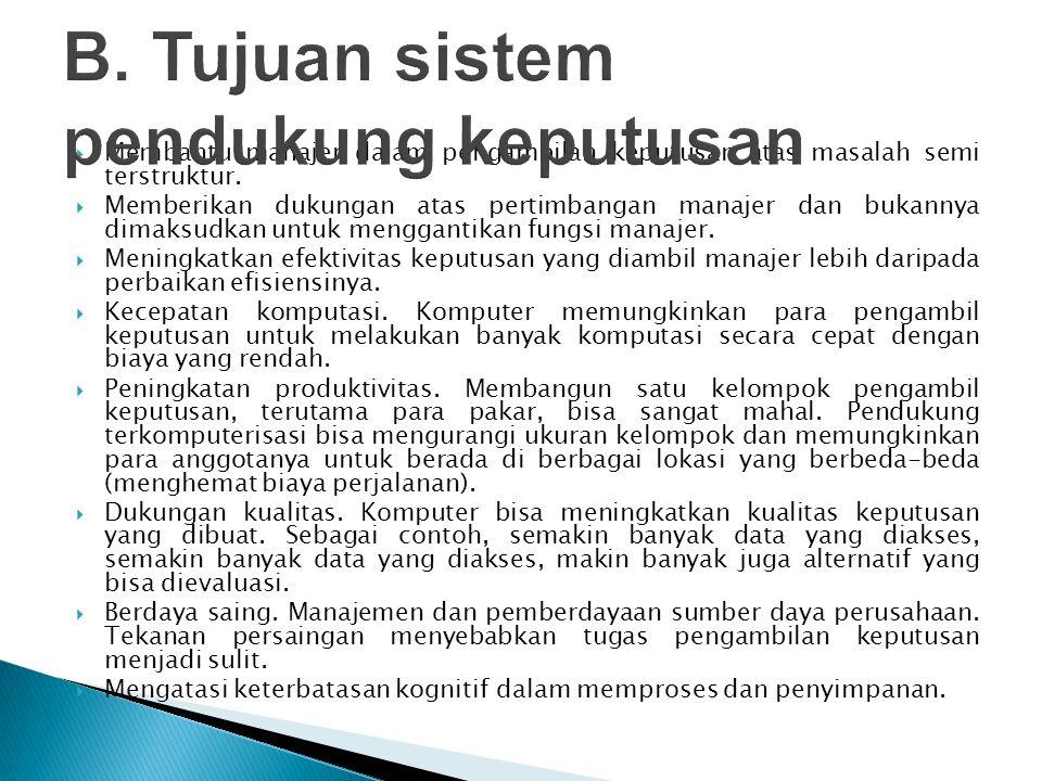 B. Tujuan sistem pendukung keputusan