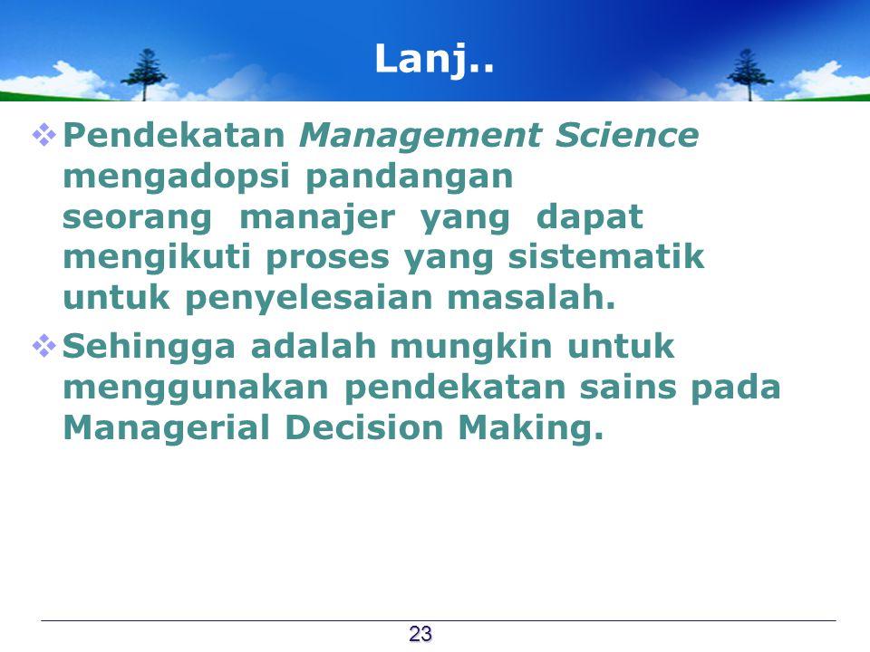 Lanj.. Pendekatan Management Science mengadopsi pandangan seorang manajer yang dapat mengikuti proses yang sistematik untuk penyelesaian masalah.