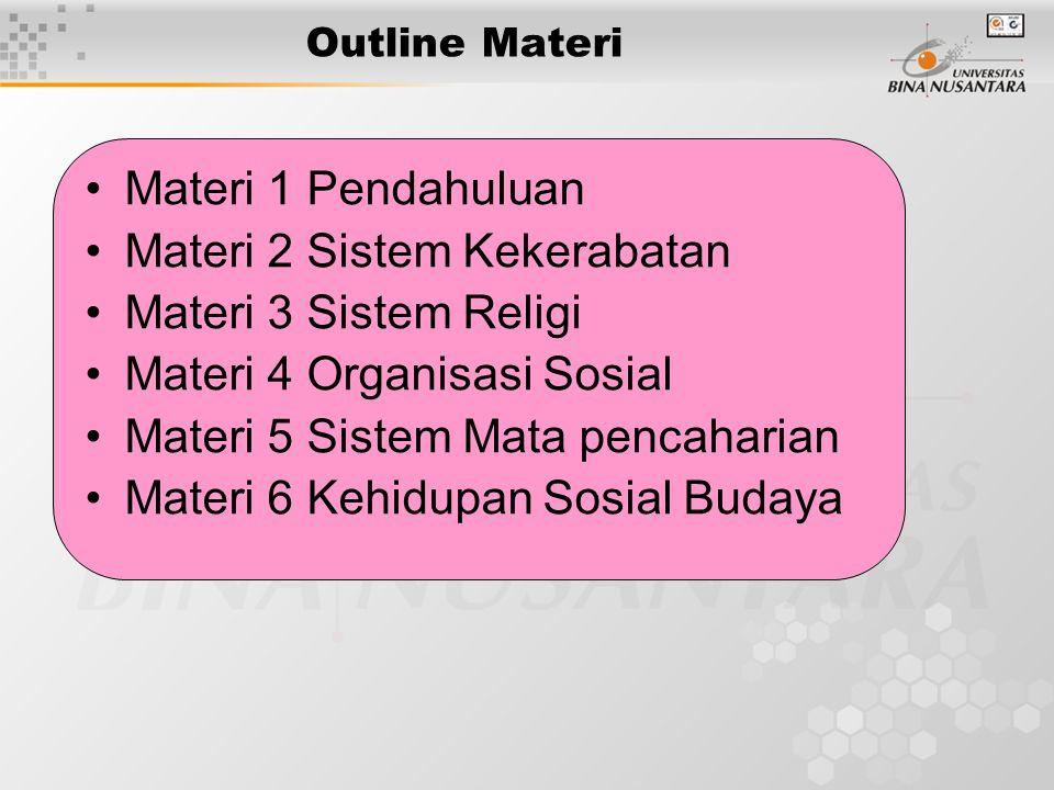 Materi 2 Sistem Kekerabatan Materi 3 Sistem Religi