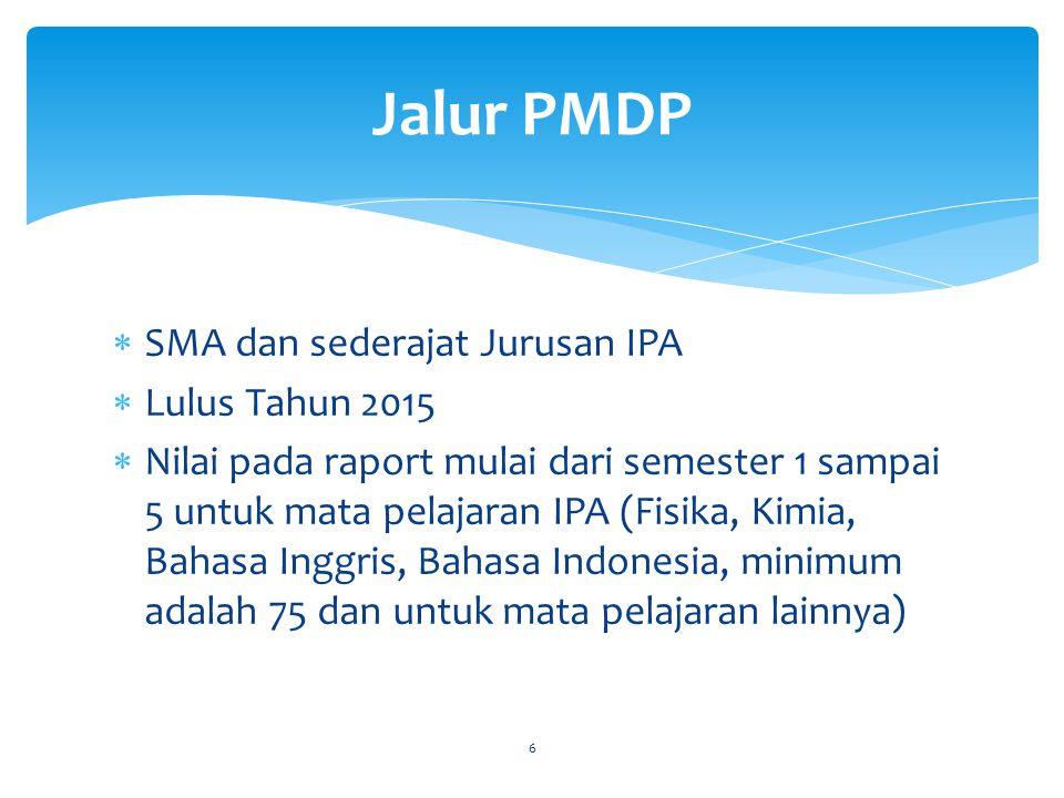 Jalur PMDP SMA dan sederajat Jurusan IPA Lulus Tahun 2015