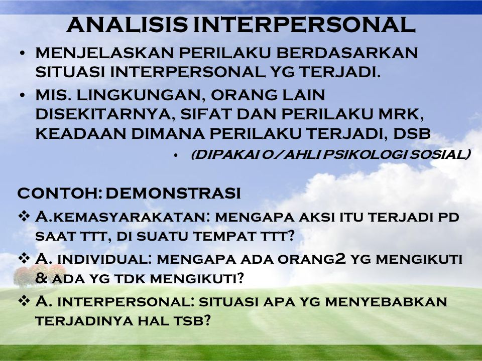 ANALISIS INTERPERSONAL