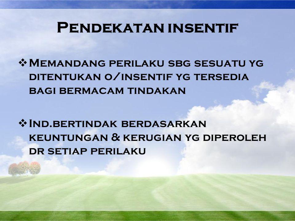 Pendekatan insentif Memandang perilaku sbg sesuatu yg ditentukan o/insentif yg tersedia bagi bermacam tindakan.