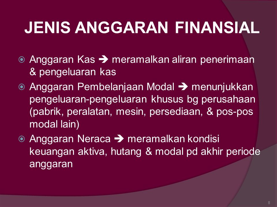 JENIS ANGGARAN FINANSIAL