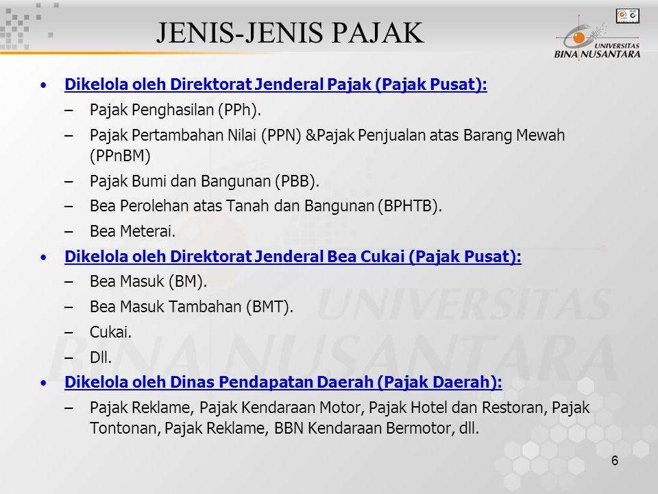 JENIS-JENIS PAJAK Dikelola oleh Direktorat Jenderal Pajak (Pajak Pusat): Pajak Penghasilan (PPh).