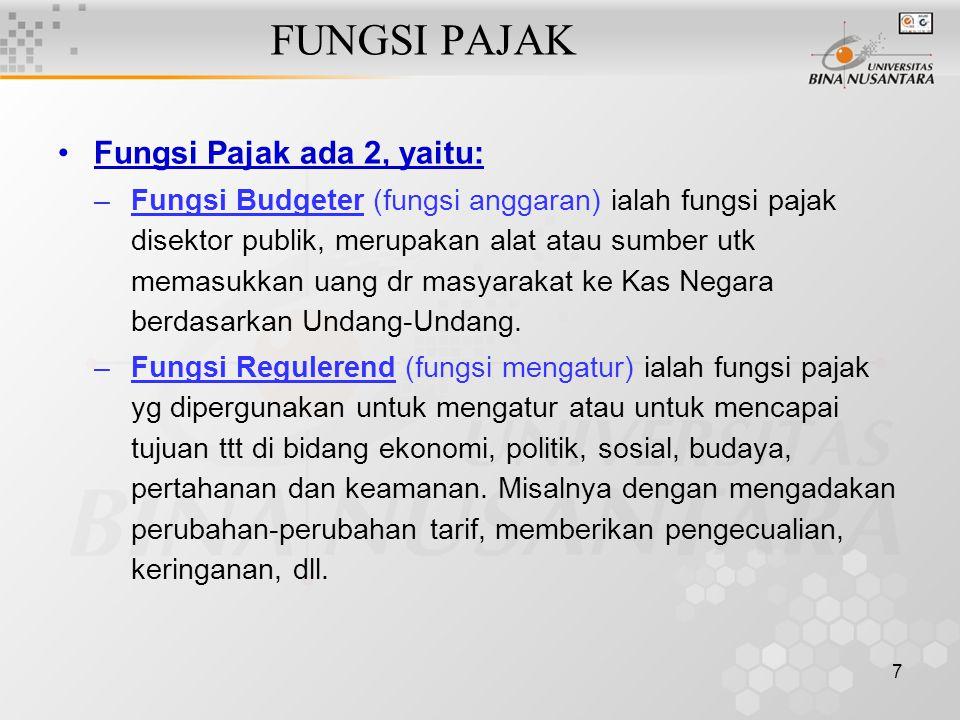 FUNGSI PAJAK Fungsi Pajak ada 2, yaitu: