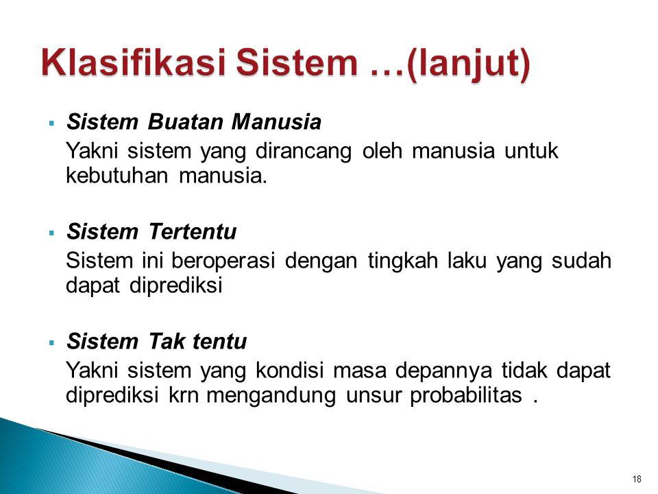 Klasifikasi Sistem …(lanjut)