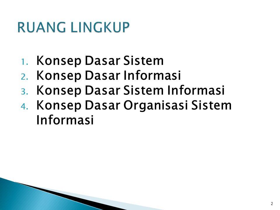 RUANG LINGKUP Konsep Dasar Sistem Konsep Dasar Informasi