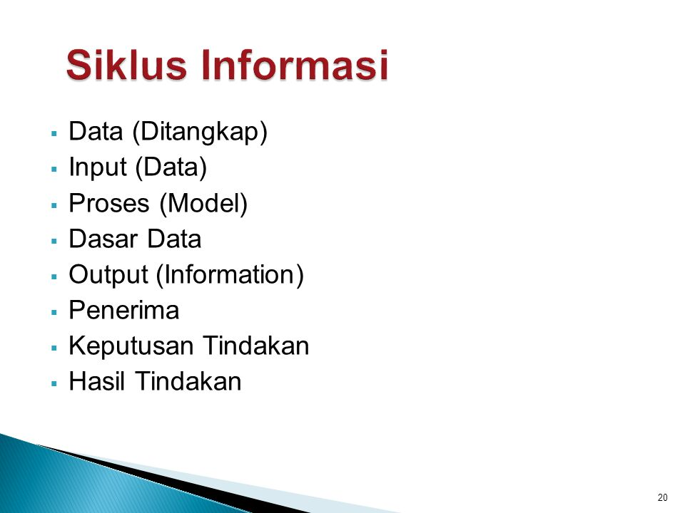 Siklus Informasi Data (Ditangkap) Input (Data) Proses (Model)