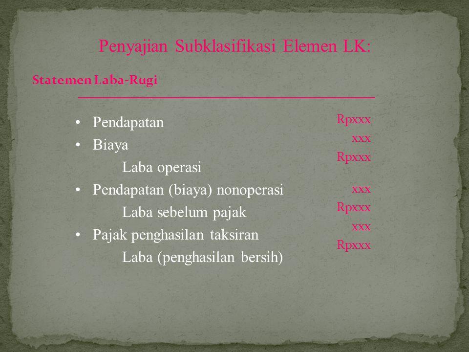 Penyajian Subklasifikasi Elemen LK: