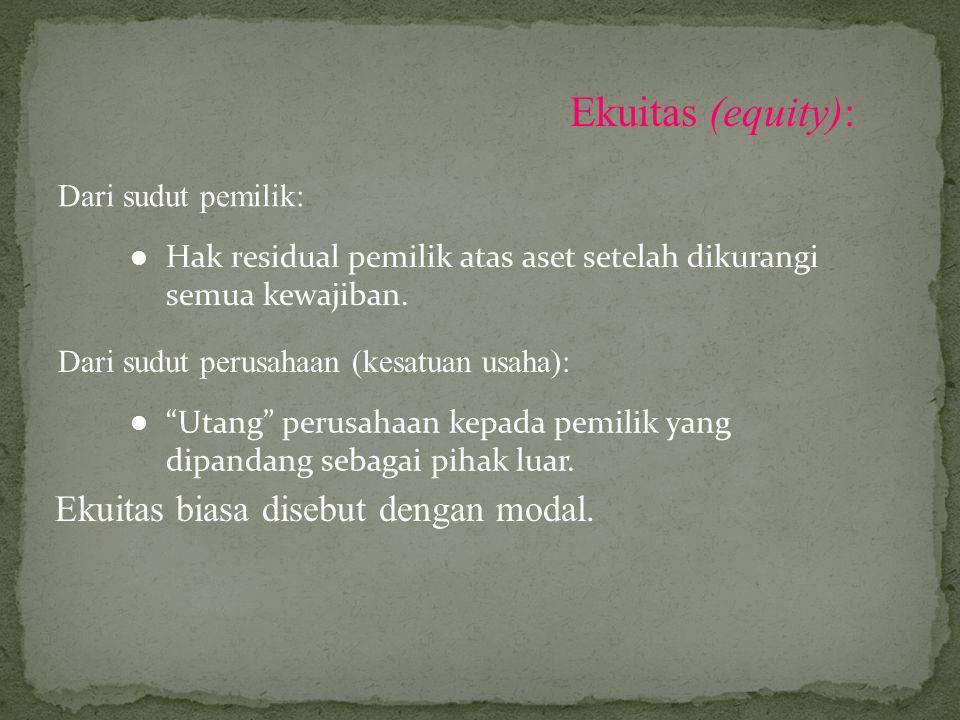 Ekuitas (equity): Ekuitas biasa disebut dengan modal.