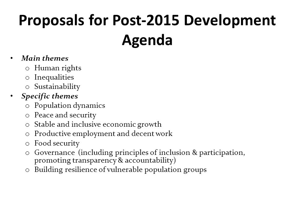 Proposals for Post-2015 Development Agenda