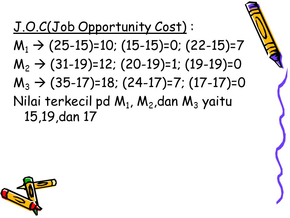 J.O.C(Job Opportunity Cost) :