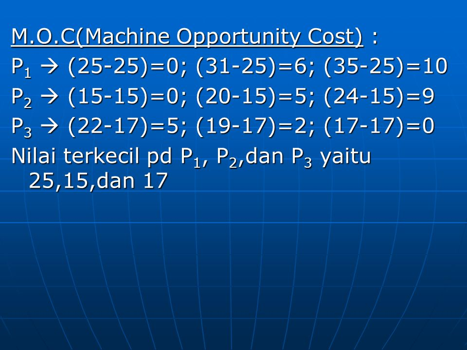 M.O.C(Machine Opportunity Cost) :