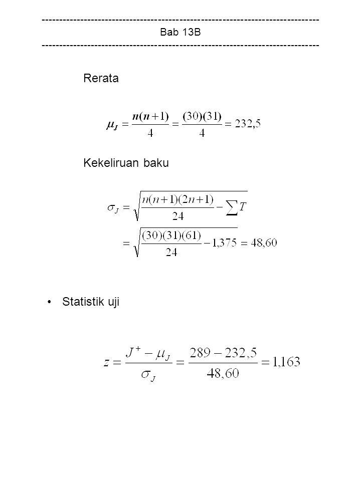 Rerata Kekeliruan baku Statistik uji