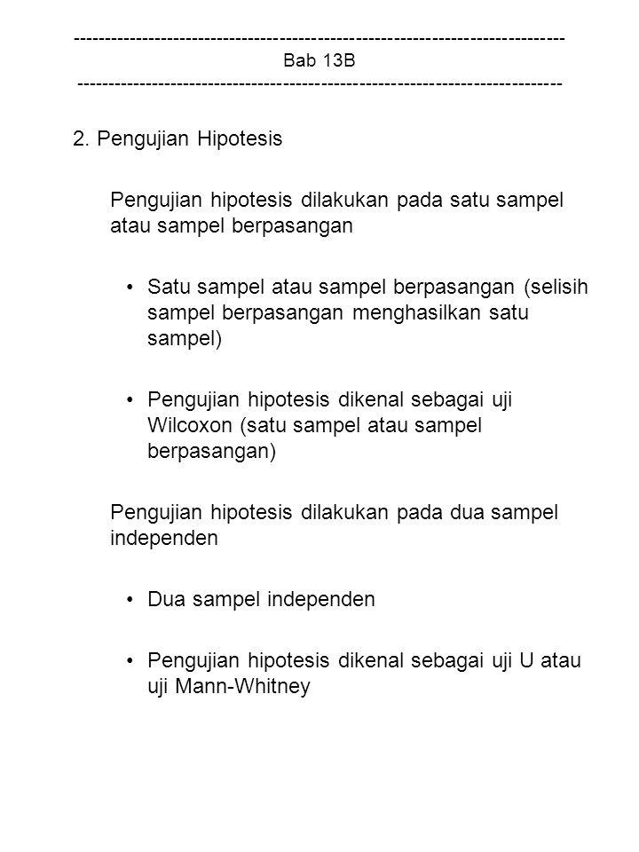 Pengujian hipotesis dilakukan pada satu sampel atau sampel berpasangan