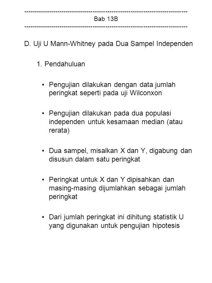 D. Uji U Mann-Whitney pada Dua Sampel Independen 1. Pendahuluan