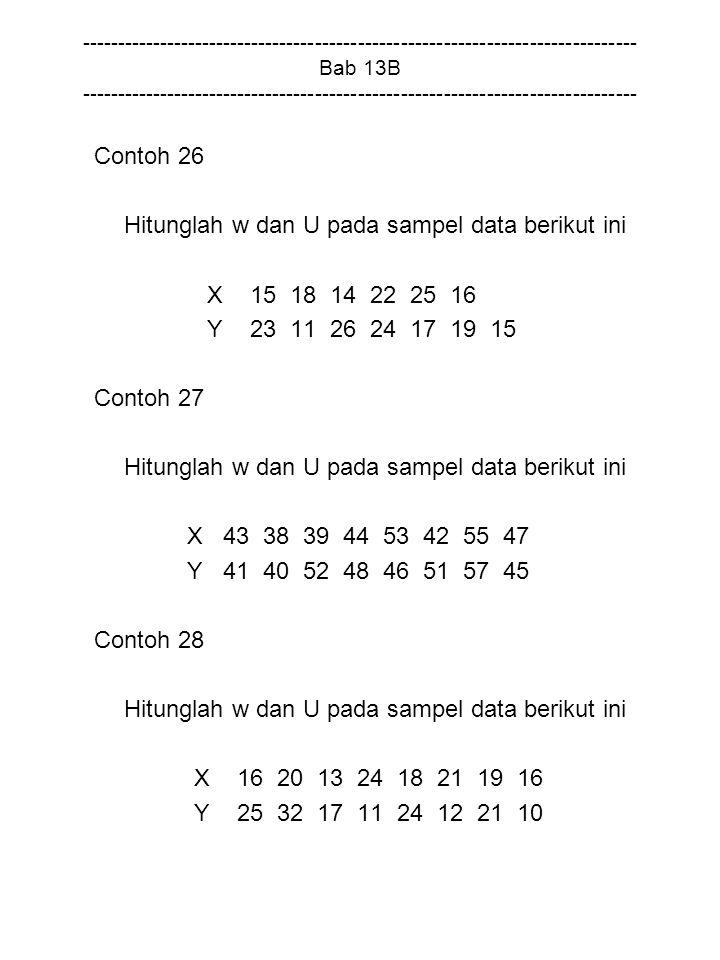Hitunglah w dan U pada sampel data berikut ini X 15 18 14 22 25 16