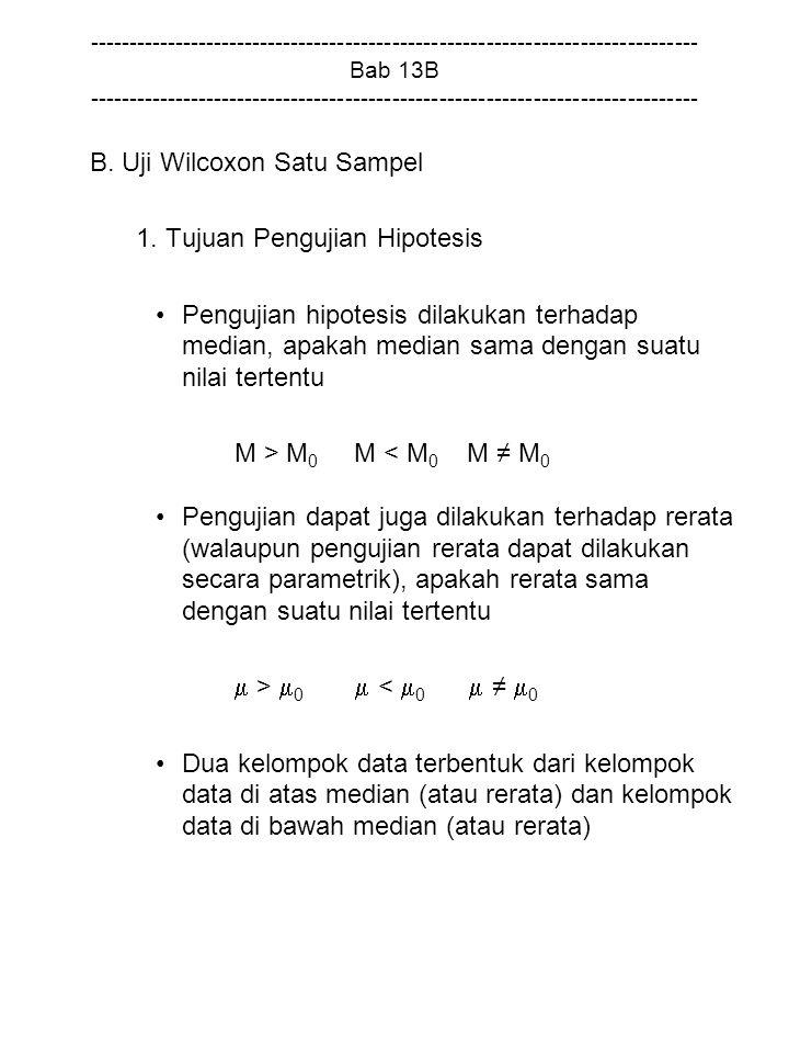 B. Uji Wilcoxon Satu Sampel 1. Tujuan Pengujian Hipotesis